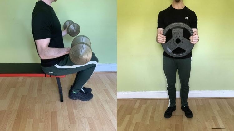 A man doing some high rep bicep workouts with various weights
