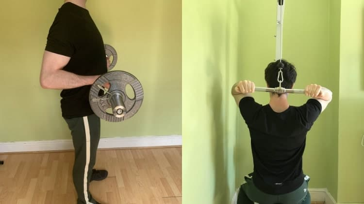 A man doing a high repitition bicep workout