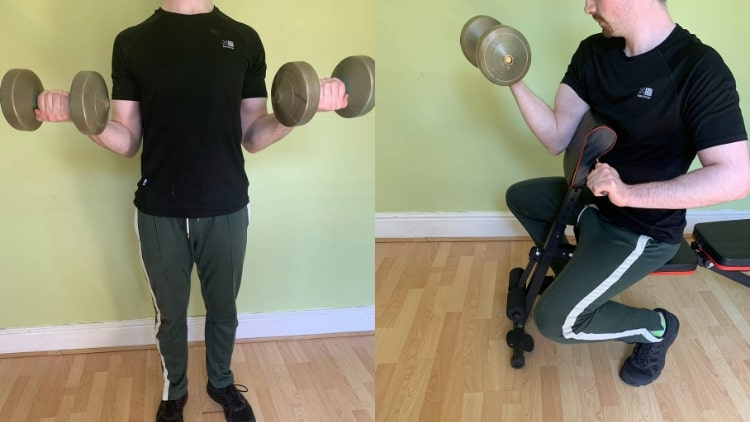 A man doing some curls during his 30 minute bicep workout