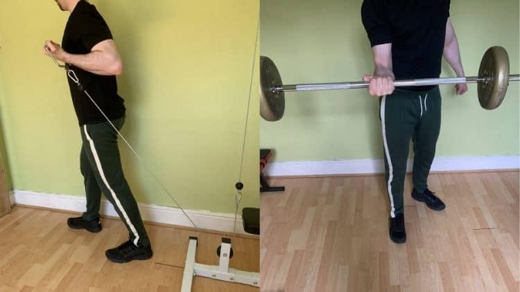 A man performing an advanced bicep workout
