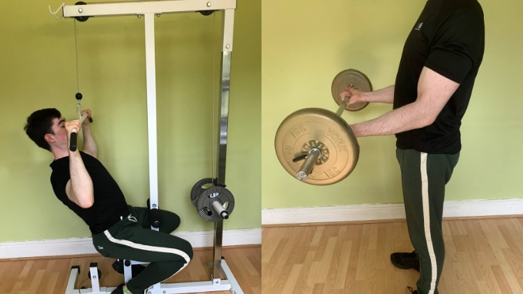 A man performing a back and bicep workout routine