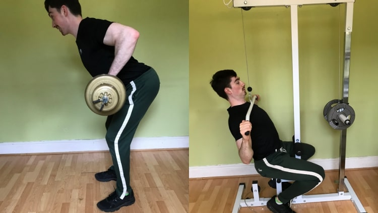 A man demonstrating a back and bicep workout for beginners