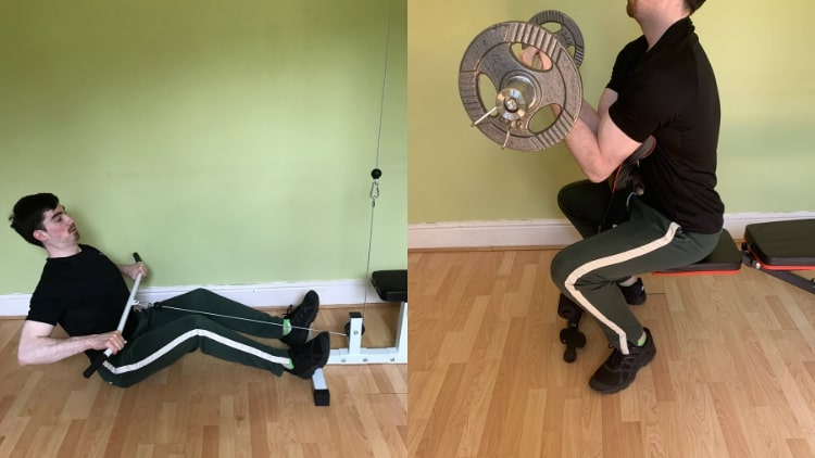 A man doing a back and bicep working during his cutting phase