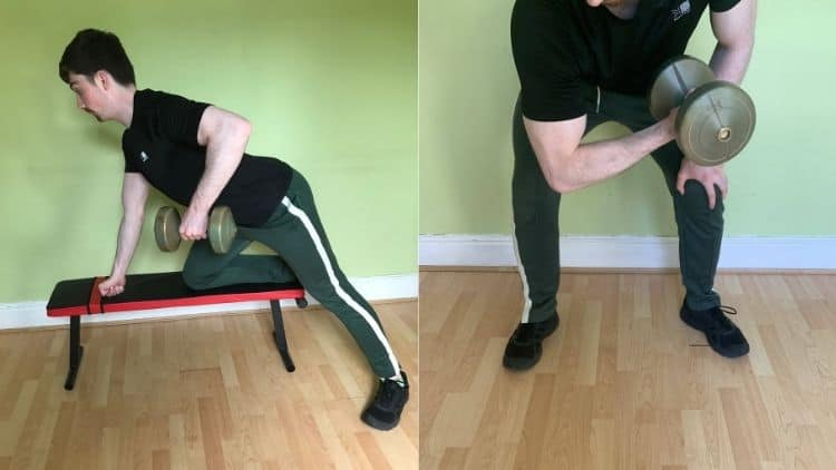 A man performing a back and bicep workout with dumbbells at home