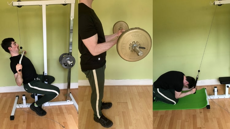 A man performing a back biceps and abs workout