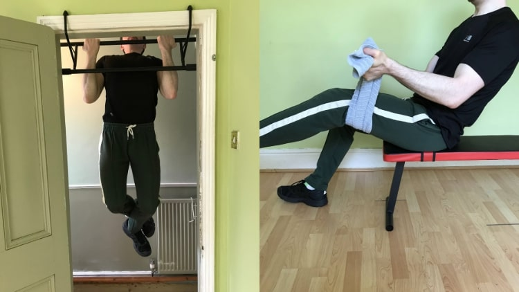 A man demonstrating two of the best bodyweight bicep exercises that you can perform