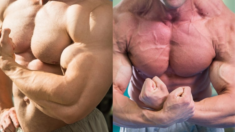 Two men flexing their muscles