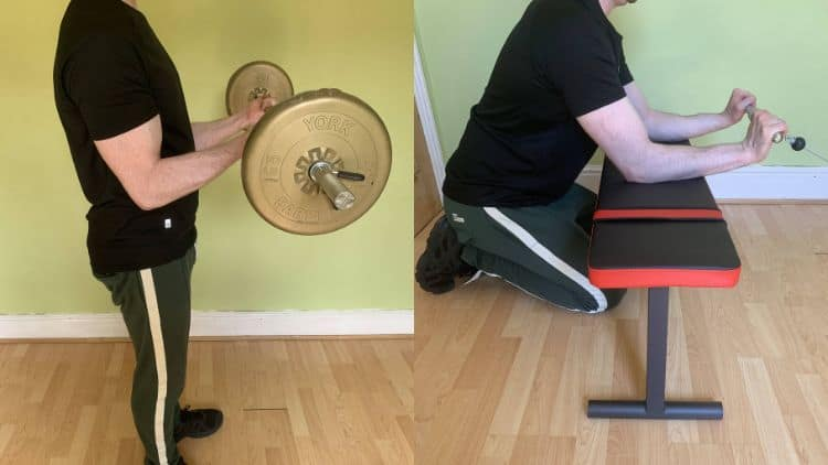 A man performing a bicep and forearm workout
