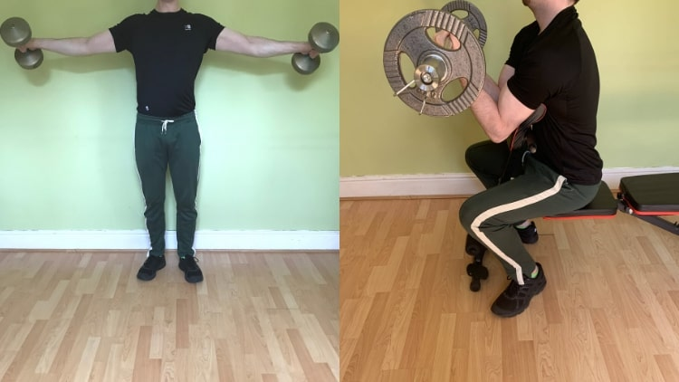 A man doing a bicep and shoulder workout