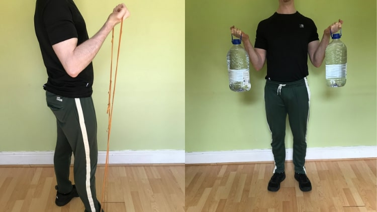 A man doing various bicep exercises at home
