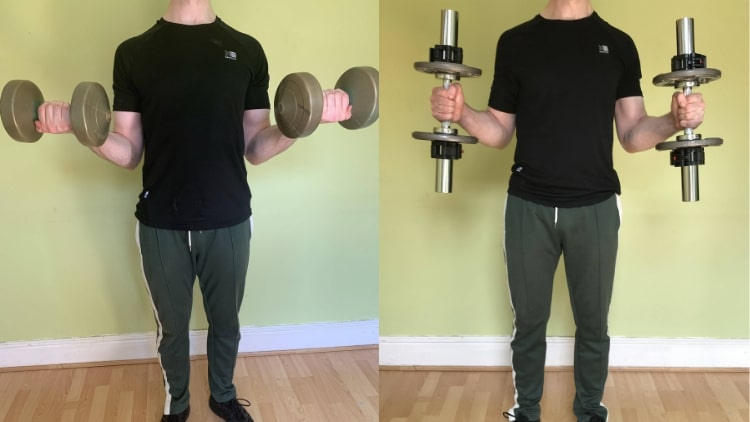 A man performing some bicep exercises with dumbbells