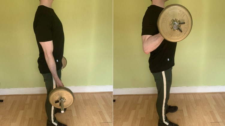 A man performing some long head bicep exercises