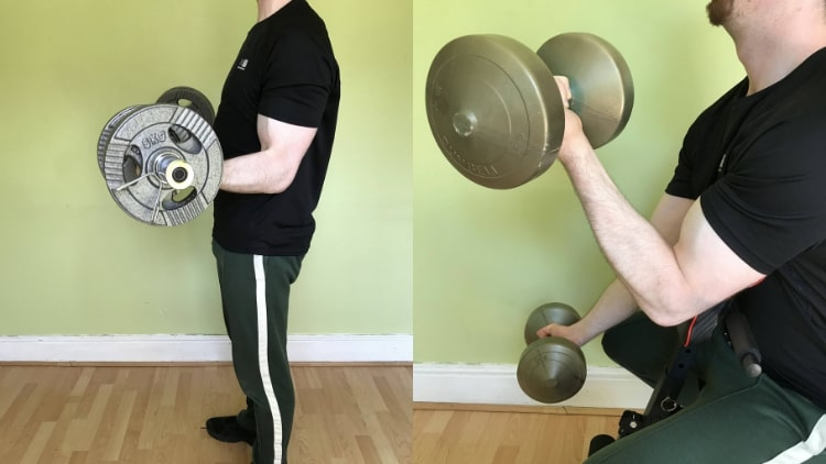 A man performing a bicep pump workout with some weights