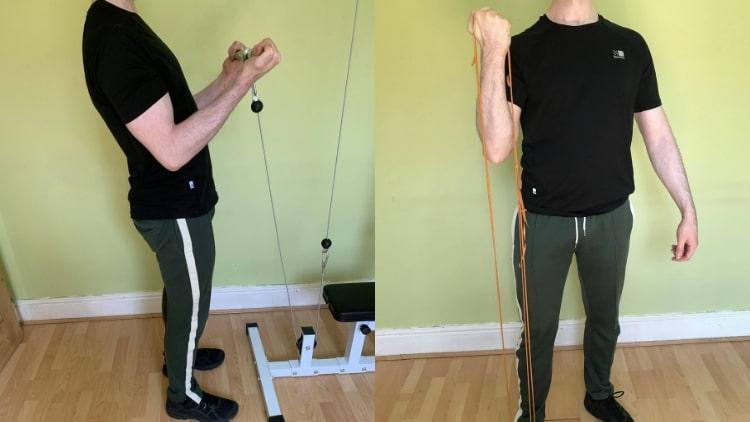 A man doing a bicep superset workout