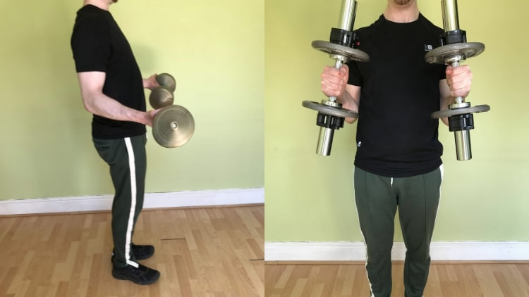 A man performing a bicep superset workout routine