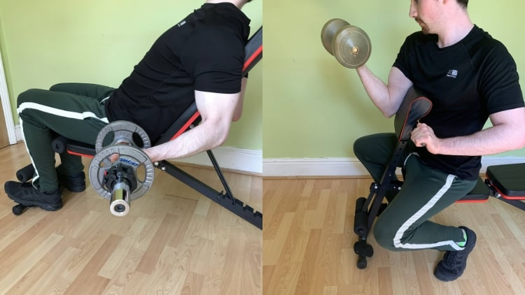 A man doing some bicep workouts with dumbbells