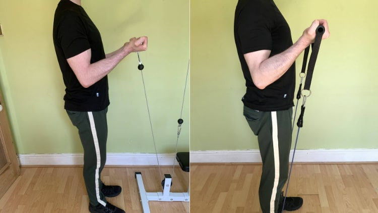 A man performing a biceps superset workout routine