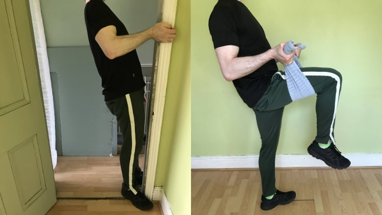 A man demonstrating a good bodyweight biceps workout routine