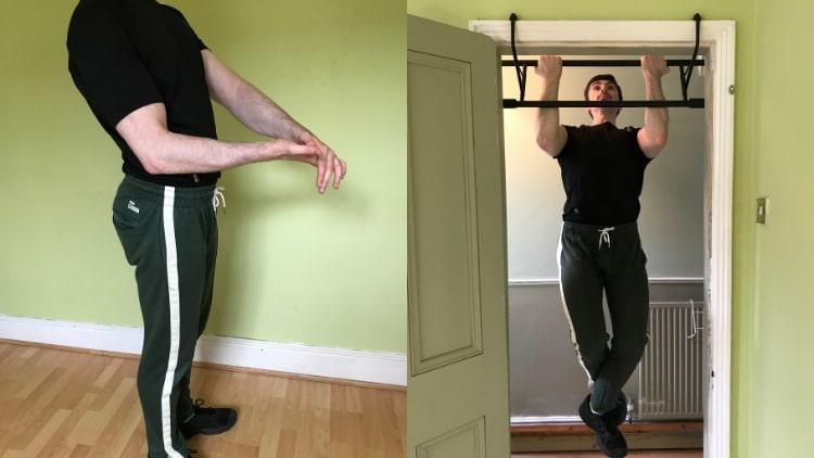A man doing a calisthenics bicep workout