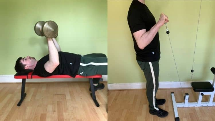 A man performing a chest and bicep superset workout
