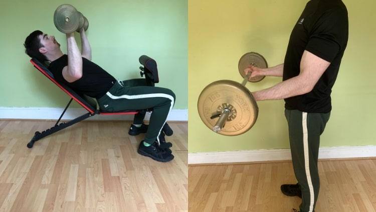 A man demonstrating a chest and bicep workout