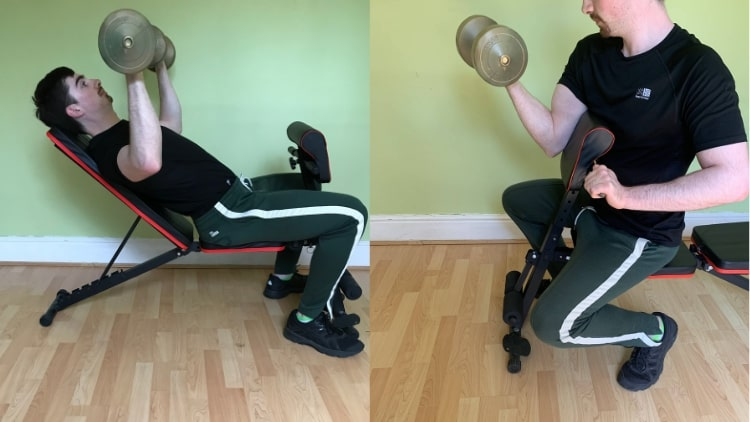 A man performing a chest and biceps workout