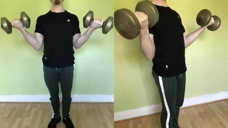 A man demonstrating some dumbbell bicep exercises