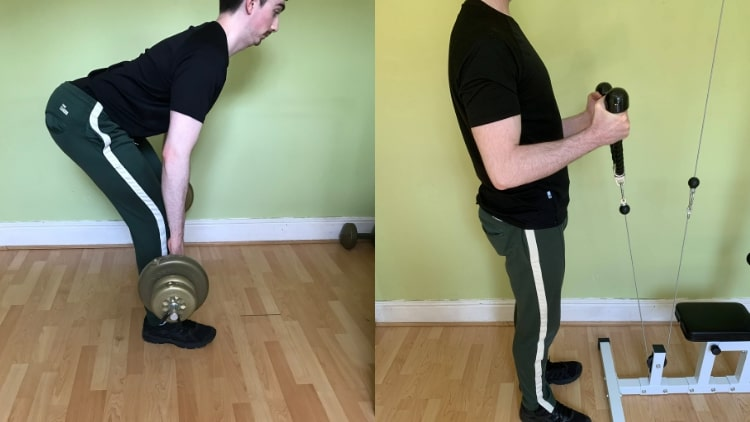 A man doing exercise for his arms and legs