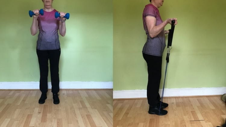 A girl doing a bicep workout
