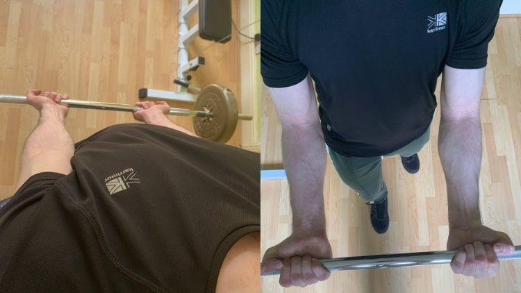 A man demonstrating how to work the outer bicep