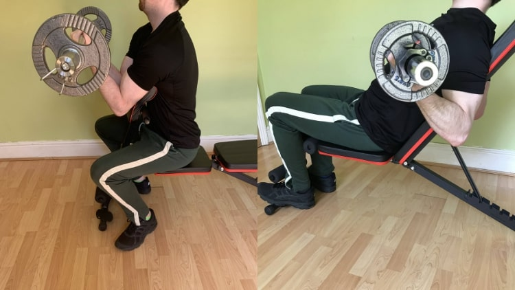 A man demonstrating some inner bicep exercises