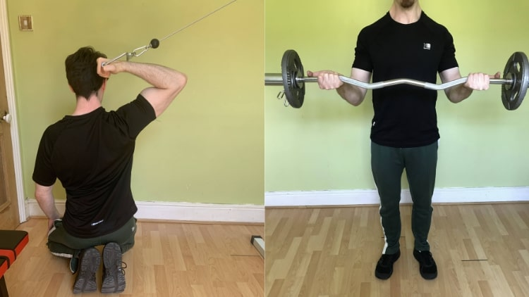 A man performing some inner bicep workouts