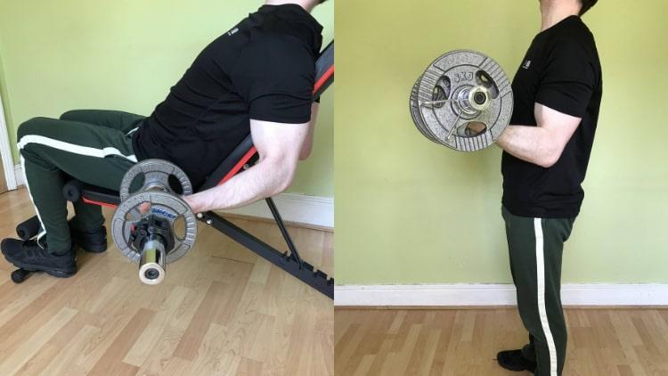 A man doing an inside bicep workout