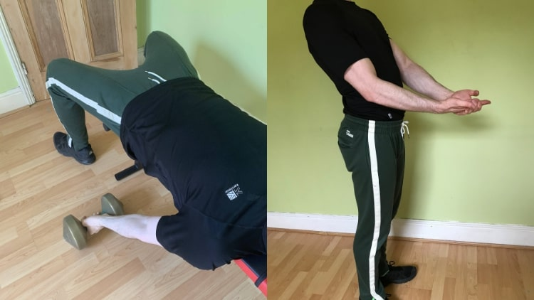 A man doing some isometric bicep exercise