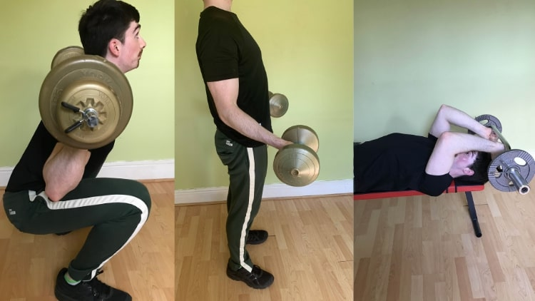 A man doing some leg and arm workouts