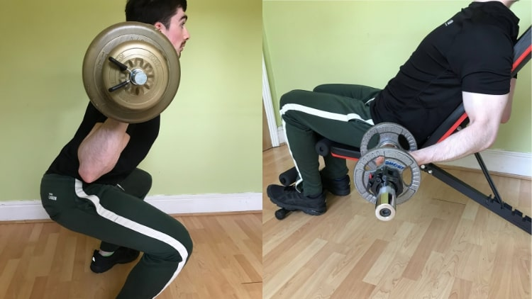 A man training his legs and biceps on the same day
