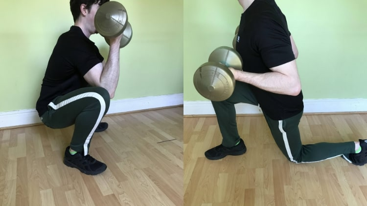 A man performing a legs and biceps workout