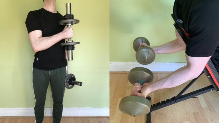 A man performing a long head bicep workout