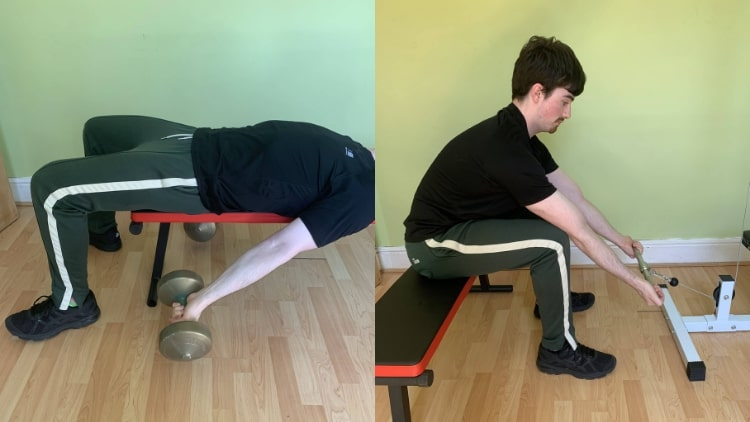 A man demonstrating some lower bicep exercises