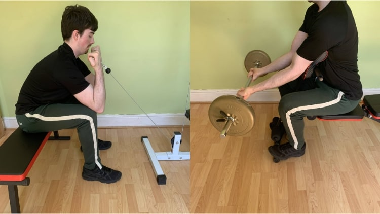 A man performing a lower bicep workout