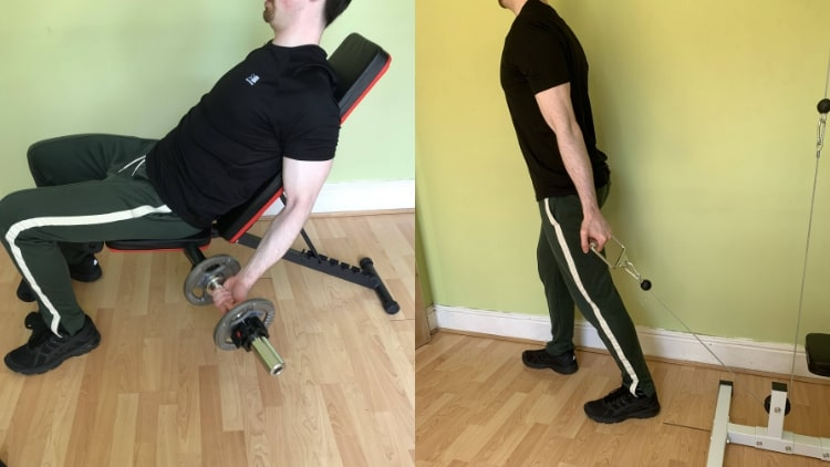 A man performing some outer bicep exercises