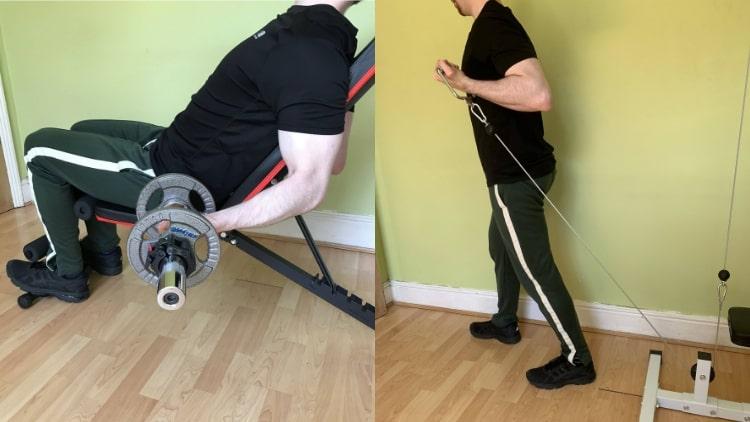 A man doing an outer bicep workout
