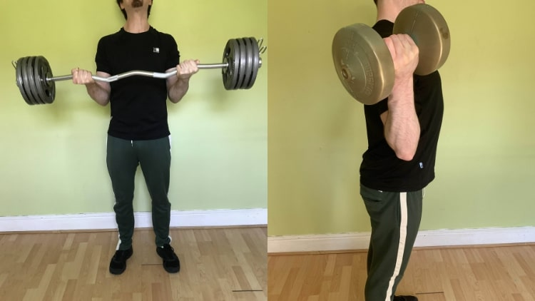 A man performing a quick bicep workout with some weights