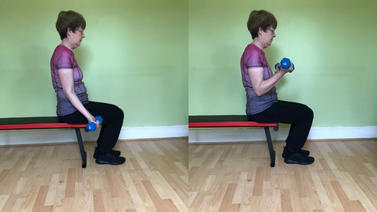 A woman performing a seated dumbbell curl