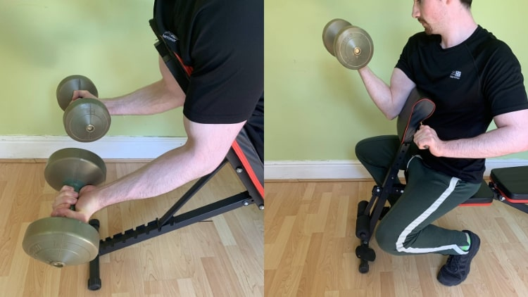 A man doing some short head bicep exercises
