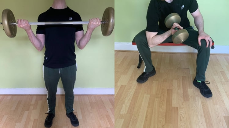 A man performing a short head bicep workout