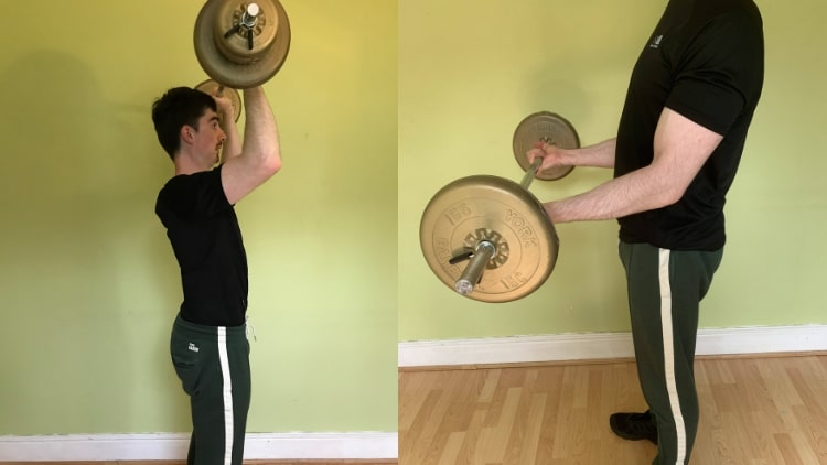 A man doing a good shoulder and bicep workout