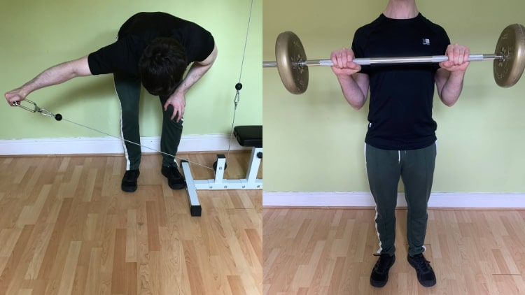 A man performing a shoulder and biceps workout routine