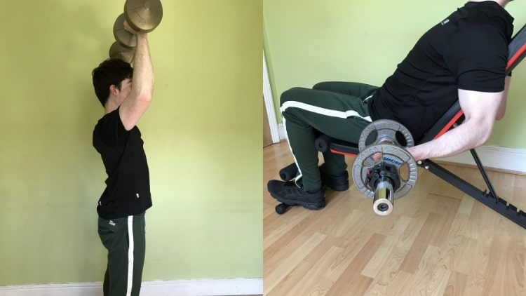 A man training his shoulders and biceps on the same day
