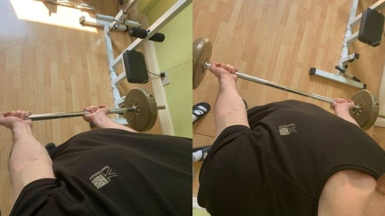 A man demonstrating two grips that you can use for standing straight bar curls
